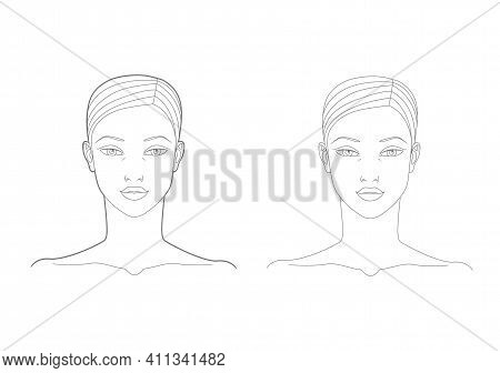 Template Of The Face And Neck Of A Woman In The Front. Medicine And Cosmetology Scheme. Graphic Line