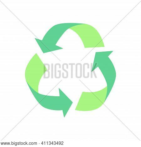 Green Arrows Recycle Eco Symbol Isolated On White Background. The Concept Of Waste Recycling, Recycl