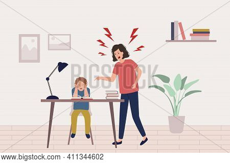 Child Abuse Concept. Mother Yells At Scared Boy Doing Homework, Kid Is Afraid And Closes His Ears Wi
