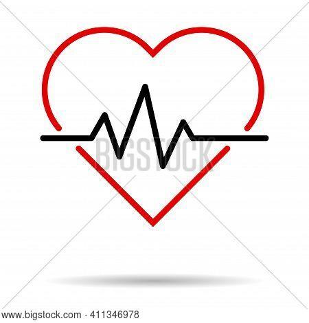 Hearth Beat Line Icon, Health Medical Heartbeat Symbol Isolated On White Background, Hospital Logo,