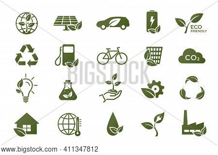 Eco Icon Set. Eco Friendly, Ecology And Environment Symbols. Isolated Vector Images