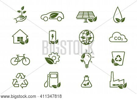 Eco Line Icon Set. Environment, Eco Friendly, Green Technology And Ecology Symbols. Isolated Vector