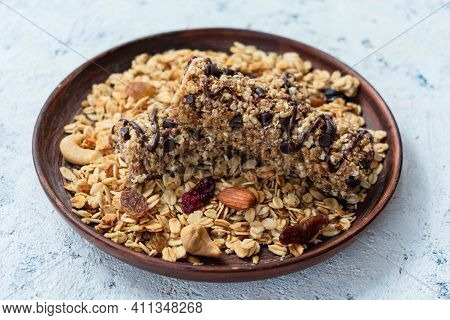 Healthy Granola On A Plate, And Granola Bars.
