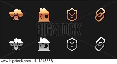 Set System Bug On A Cloud, Smart Home, Shield With Wifi Wireless And Chain Link Icon. Vector