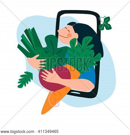 Fresh Vegetables Delivery Concept. Buy Online Concept. Friendly Woman Passing Carrot And Beetroot Th