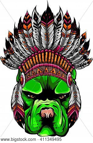 Pitbull Dog Head With Indian Hat, Vector Illustration