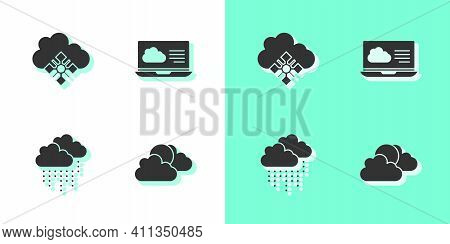 Set Sun And Cloud Weather, Cloud With Snow, Rain And Weather Forecast Icon. Vector