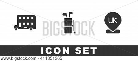 Set Double Decker Bus, Golf Bag With Clubs And Location England Icon. Vector