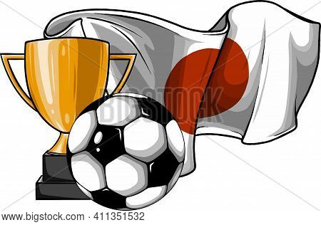 Football Ball With Cup And Japan Flag Vector