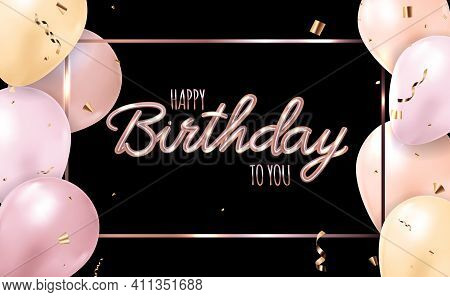Happy Birthday Black Background With Realistic Balloons. Vector Illustration