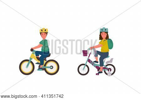 A Set Of Illustrations Of Children On A Bicycle. A Girl And A Boy On Two-wheeled Bicycles. Bike Ride