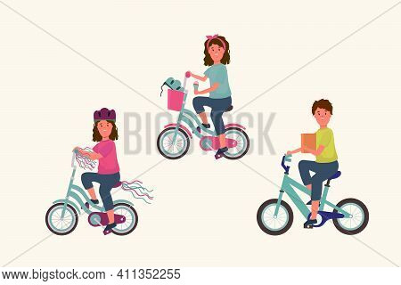 Collection Of Children's Bicycles With Children. An Illustration With Girls And Boys On Colored Two-