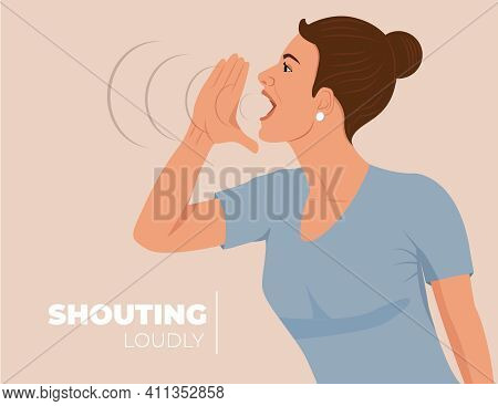 Shouting And Screaming Loud To Side With Hands Over Mouth. Communication. Lady Announces And Promote