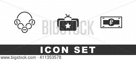 Set Russian Bagels, Ushanka And Ruble Banknote Icon. Vector