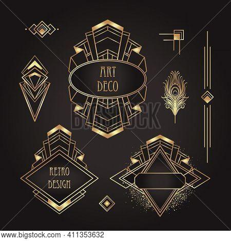 Art Deco Vintage Gold Patterns Over Black, Frames And Design Elements. Retro Party Geometric Backgro
