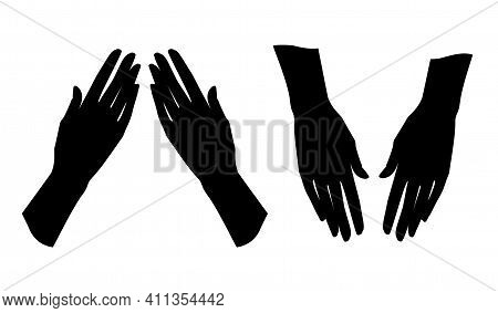 Gestures. Graceful Hand Of A Woman. Graphic Silhouette Drawing. Vector Illustration.