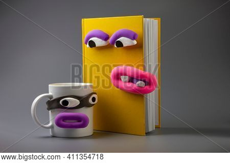 Animated book and cup with eyes and mouth. Cartoon plasticine parts of face on things. Dialogues of things