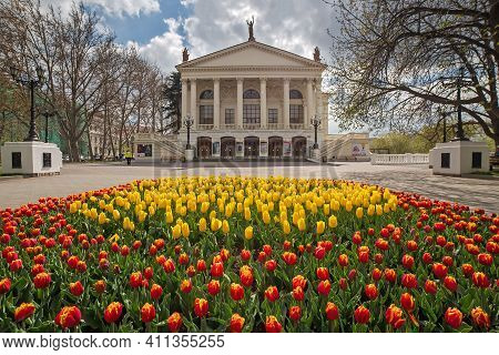 Sevastopol, Crimea, Russia- April 16, 2019: Theater Named After Lunacharsky. City Flowerbed With Bea