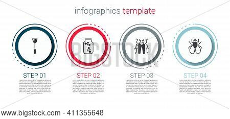 Set Fly Swatter, Fireflies Bugs In Jar, Beetle And Insect Fly. Business Infographic Template. Vector