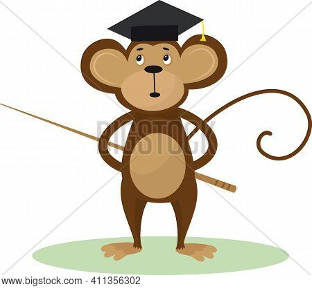 Vector Illustration Of A Cute Cartoon Monkey With Bachelor Cap And Pointer For Your Design