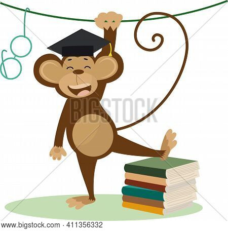 Vector Illustration Of A Cute Cartoon Monkey With Bachelor Cap, Books And Glasses For Your Design