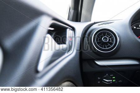 Ac Ventilation Deck In Luxury Modern Car Interior. Modern Car Black Leather Interior. Natural Carbon
