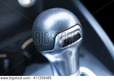 Close Up View Of A Manual Gear Lever Shift. Manual Gearbox. Car Interior Details. Car Transmission C