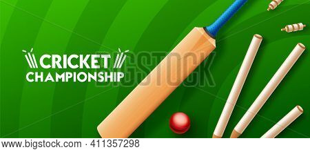 Cricket Championship League Concept With Cricket Bat, Glossy Ball And Stumps For Poster Or Banner On