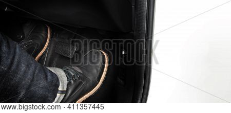 Accelerator And Breaking Pedal In A Car. Close Up
