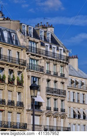 Typical Residential Buildings In The Centre Of Paris France