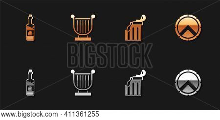 Set Bottle Of Wine, Ancient Lyre, Broken Ancient Column And Greek Shield Icon. Vector