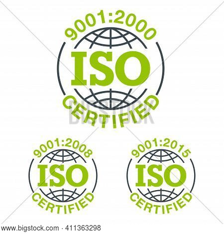 Iso 9001 Conformity To Standards Icon 2000, 2008 And 2015 Years Of Standardization - Flat Pictogram