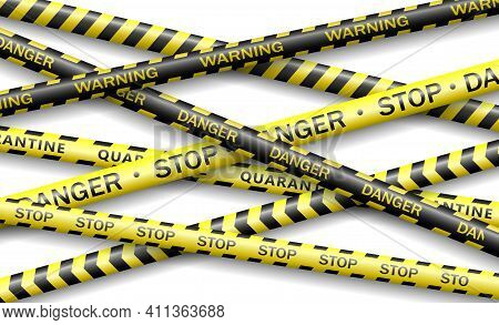 Protective Tape, Quarantine, Warning, Danger Ribbon Realistic. Coronavirus 2019-ncov, Realistic Seam