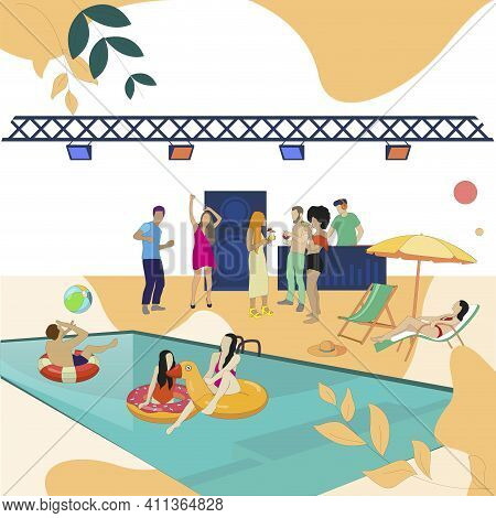 Pool Party Event, People Dance And Enjoy. Vector Summer Dance, Character Swimmer Near Swim, Discothe