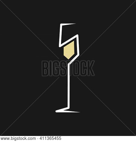 Abstract Champagne Glass Symbol On Black Backdrop. Design Element
