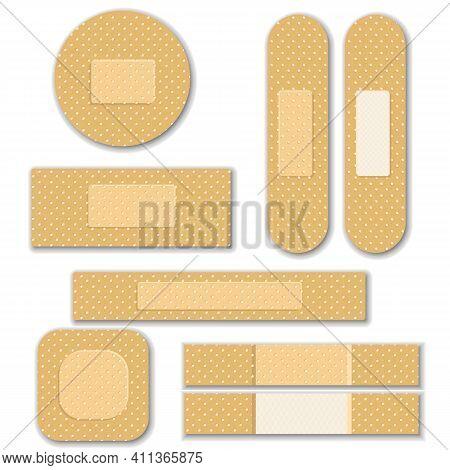 Set Of Isolated Elastic Bandage Patch. Set Of Two Sided Adhesive Plasters. Oblong, Square, Round Ski