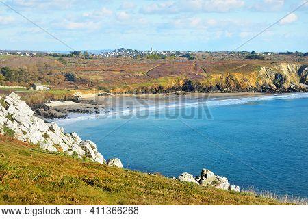 Aerial View Of The Rocky Shore Of Pointe De Pen-hir, Cliffs Close-up. Cloudy Blue Sky, Azure Water,