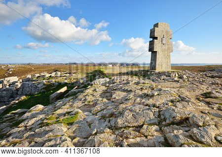 A Monument To The Bretons Of Free France, Close-up. A View Of The Cliffs Of Pointe De Pen-hir. Natio