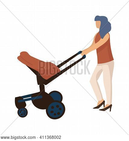 Mother Walking With Carriage. Cartoon Woman Carrying Pram. Little Baby Lies In Modern Buggy. Isolate