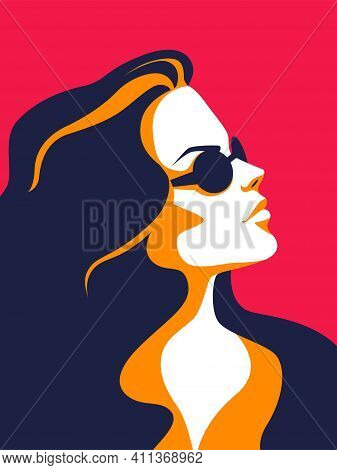 Trendy Woman. Minimalist Portrait, Female Profile. Colorful Stylized Poster Of Modern Independent Gi