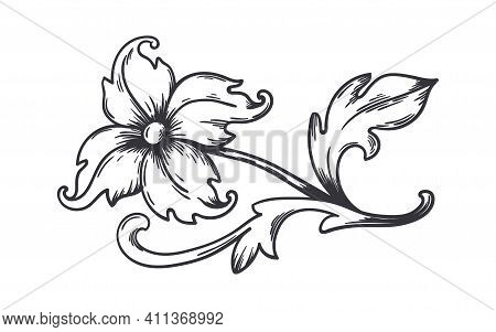 Vintage Floral Border. Baroque Decorative Ornament. Engraved Flower With Leaves. Isolated Refined Bl