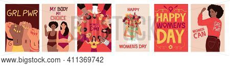 Feminist Poster. Cartoon Banners With Strong Independent Girls. International Womens Day Of Feminism