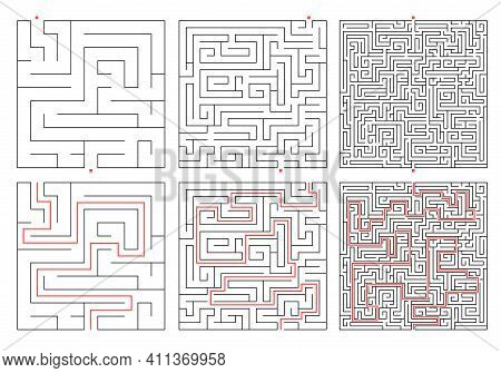 Maze. Education Game Labyrinth Different Level. Find Right Way. Set Of Square Maze With Path Solutio