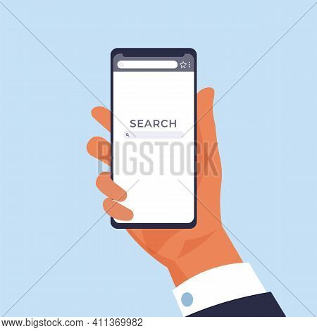 Hand Holding Phone. Mobile Web Page For Online Searching. Cartoon Man With Smartphone. Finding Infor