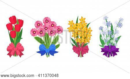 Summer Bouquets. Cartoon Bunches Of Flowers Tied With Silk Ribbons. Colorful Garden Blossoming Plant