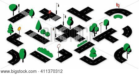 Road Parts. City Street Blocks With Crossroads And Crosswalk. Isometric Roadway With Lights And Traf