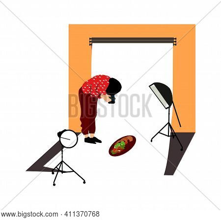 Photographer In Studio. Simple Cartoon Man Photographing Food, Taking Pictures With Professional Cam
