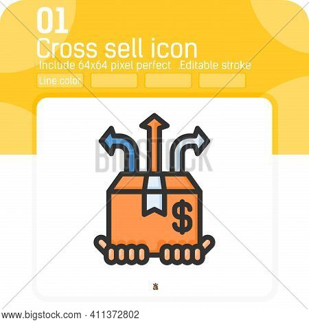 Cross Sell Icon Vector With Outline Color Style Isolated On White Background. Vector Illustration Se