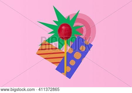 Lollipop On A Creative Background. Red Lollipop. Sweet Lollipop On A Bright Background.
