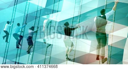 Business Competition with Business People Rushing to the Top 3d Render